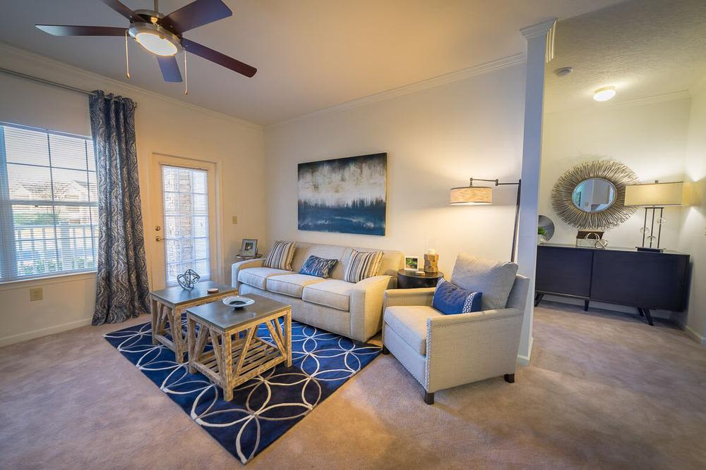 Beautiful living room at The Enclave at Deep River in Greensboro, North Carolina