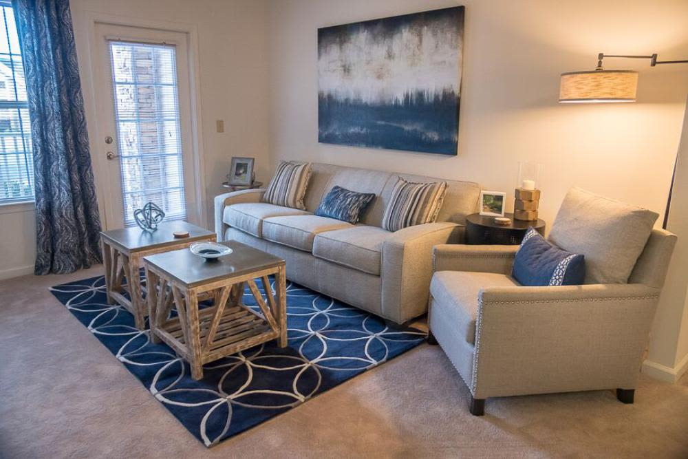 Luxury living room at The Enclave at Deep River in Greensboro, North Carolina