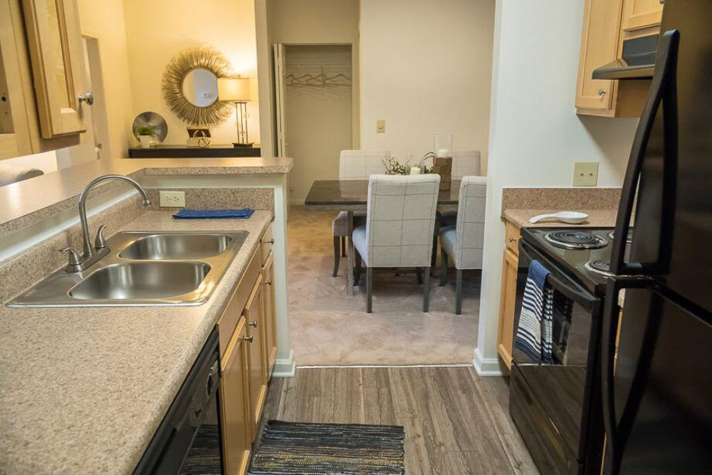 View of kitchen area at The Enclave at Deep River in Greensboro, North Carolina