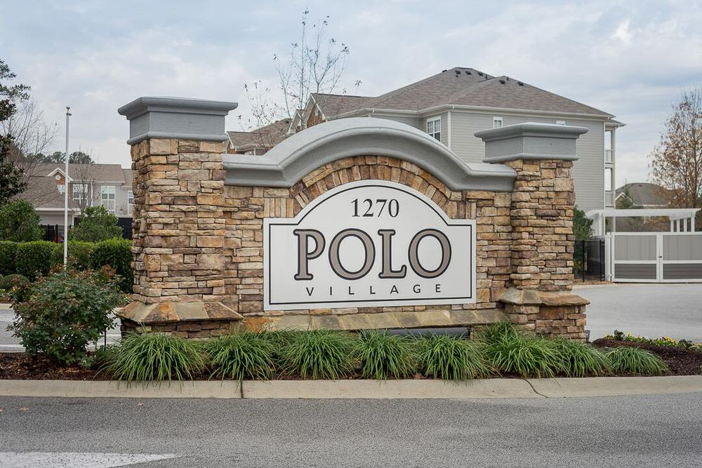 Apartment signage at Polo Village in Columbia, SC