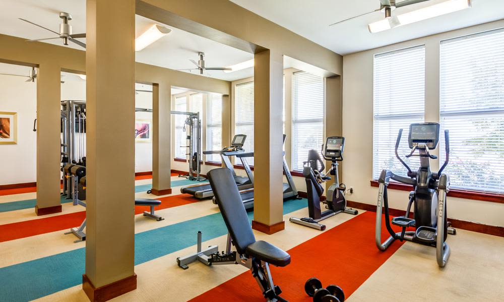 Modern fitness center at 4000 Hulen Urban Apartment Homes in Fort Worth, Texas