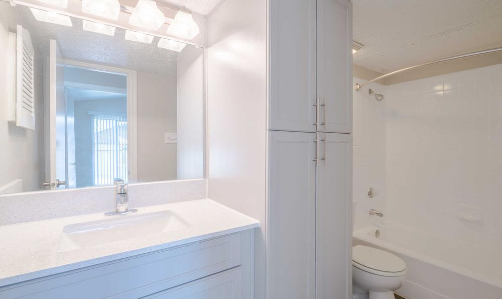 Modern bathroom  at Northstar Apartments in Austin