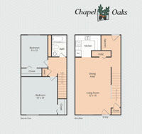 Printable floor plan 3 at Chapel Oaks Apartments