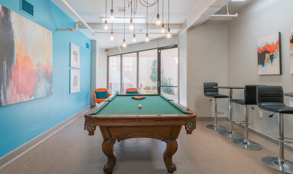 Newly updated pool table at The Enclave at 1550 Apartments in San Antonio, Texas