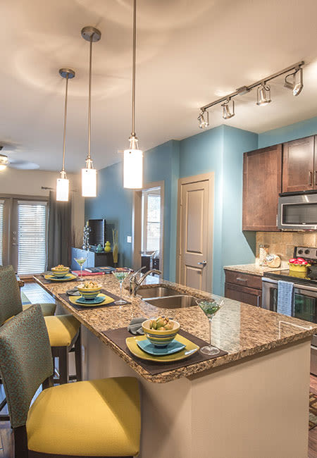 Kitchen island at Terrawood in Grapevine