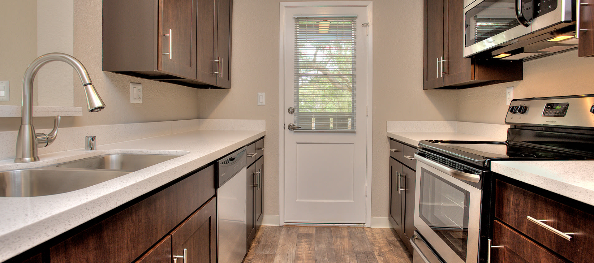 Upgraded Kitchen at Seventeen Mile Drive Village Apartment Homes in Pacific Grove
