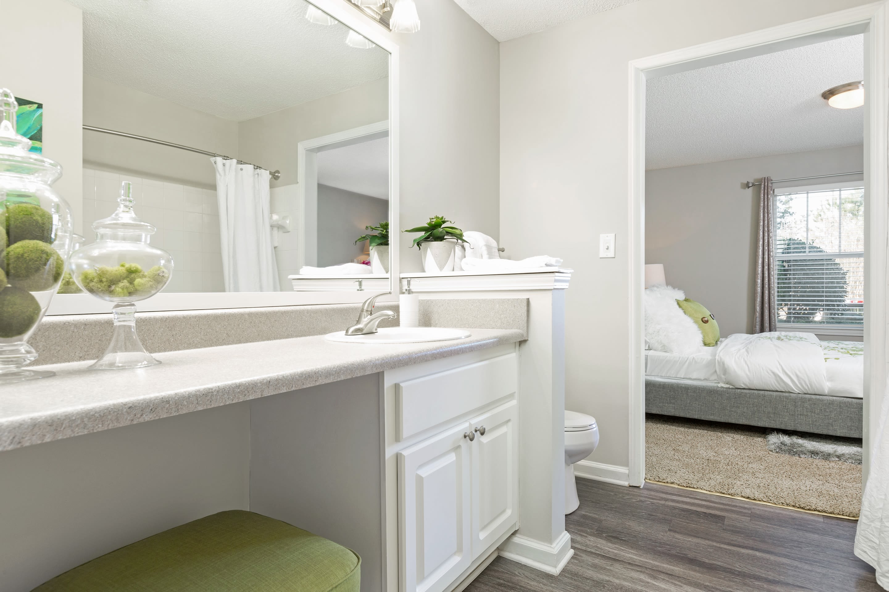 Large main bathroom at Belle Vista Apartment Homes in Lithonia, GA.