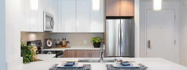Kitchen with an island at Aster