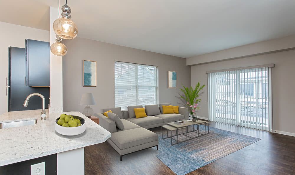 Model Living Room at North Ponds Apartments in Webster