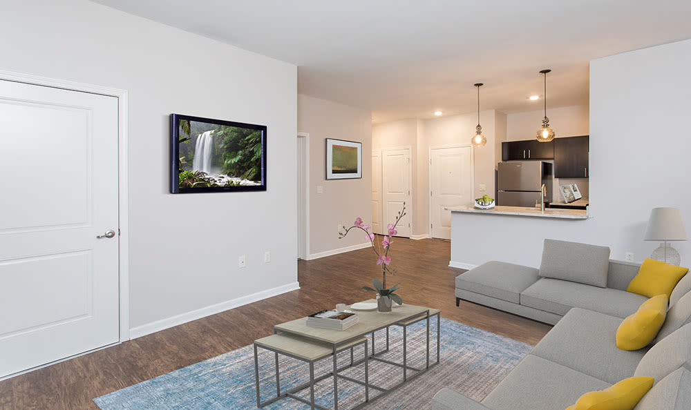 North Ponds Apartments offers a beautiful living room in Webster, New York