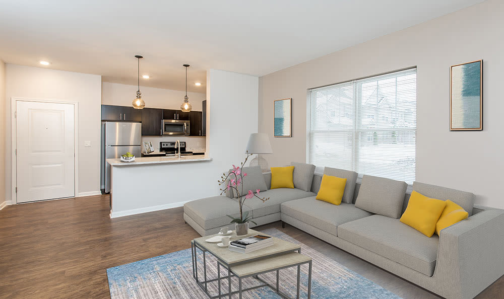 Enjoy apartments with a renovated living room at North Ponds Apartments
