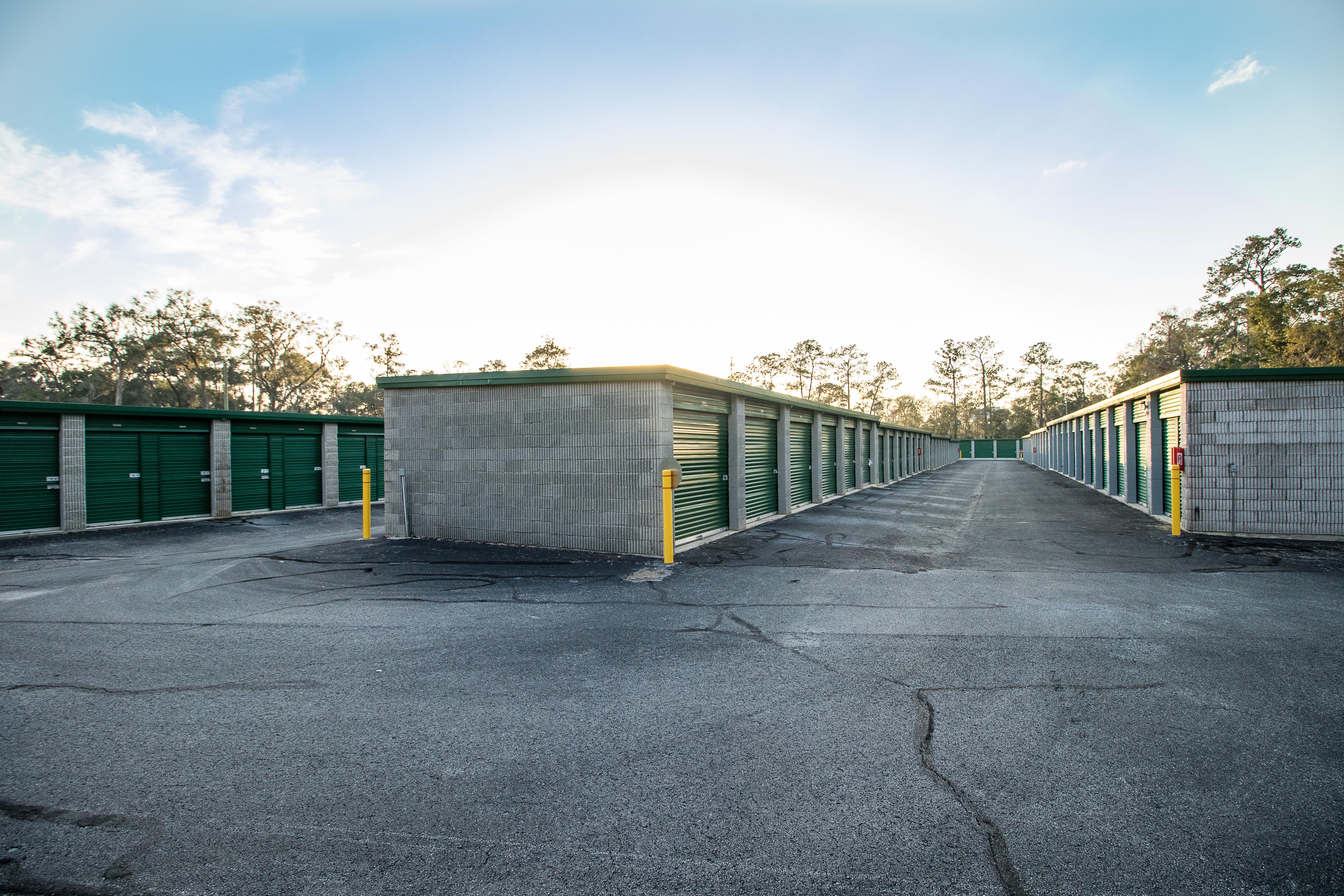 Self storage with clean exterior storage units at Neighborhood Storage