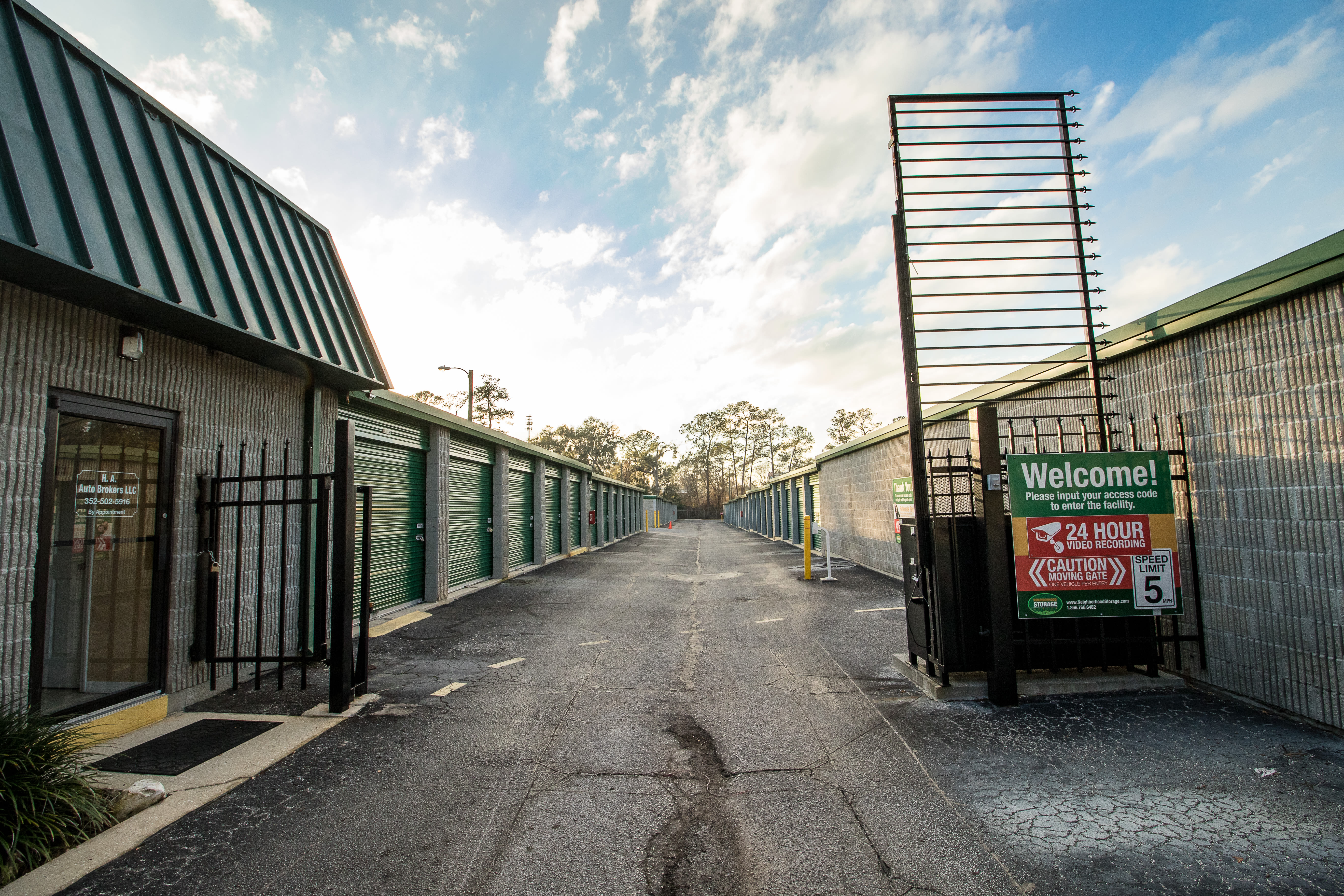Access gate at self storage facility in Ocala, Florida