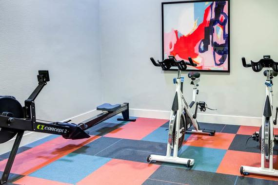 Fitness center at apartments in Bellevue, WA