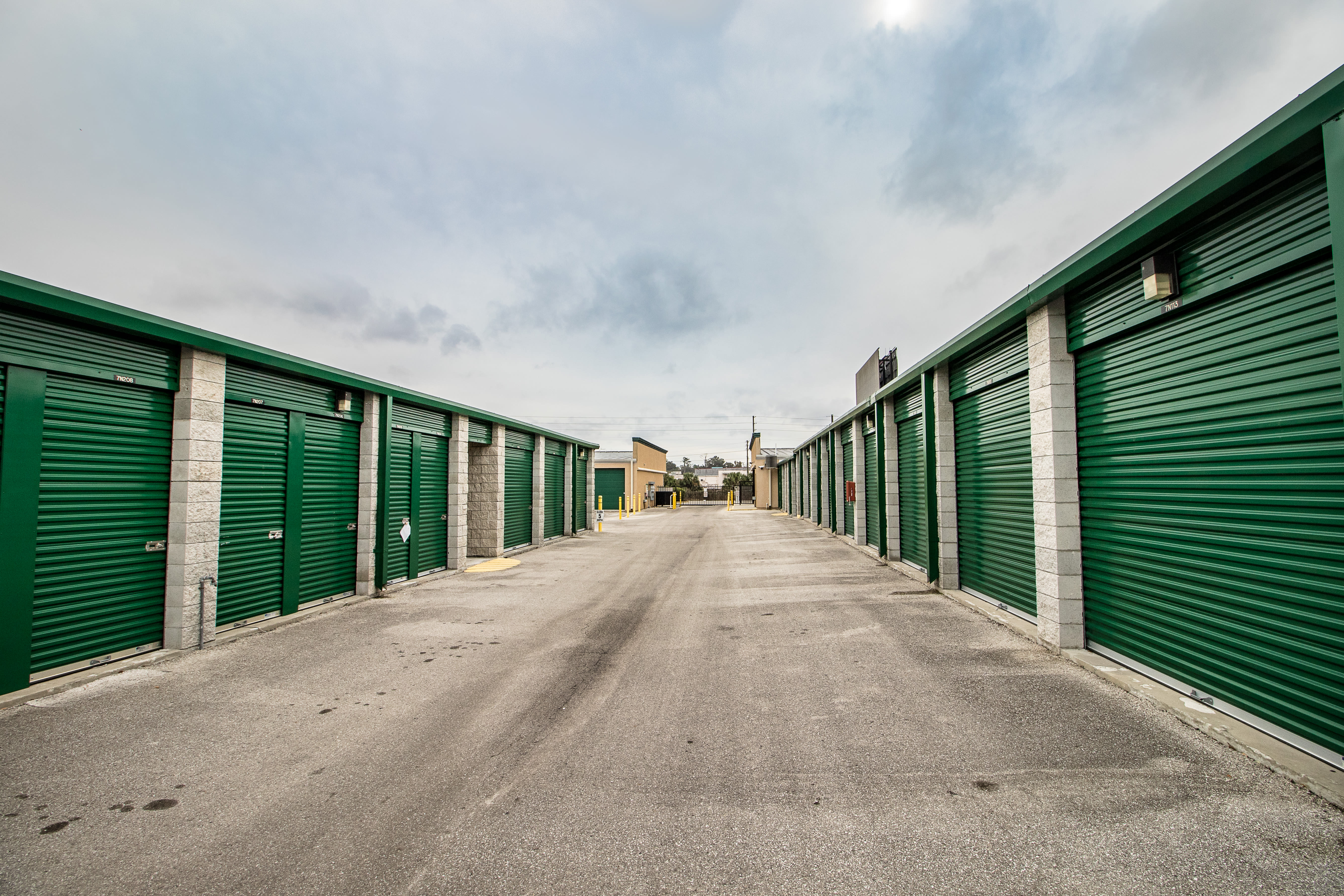 Clean exterior storage units at Neighborhood Storage in Belleview, Florida