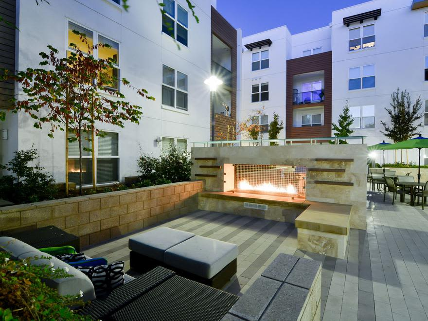 Beautiful outside fireplace in our Mountain View, California apartments