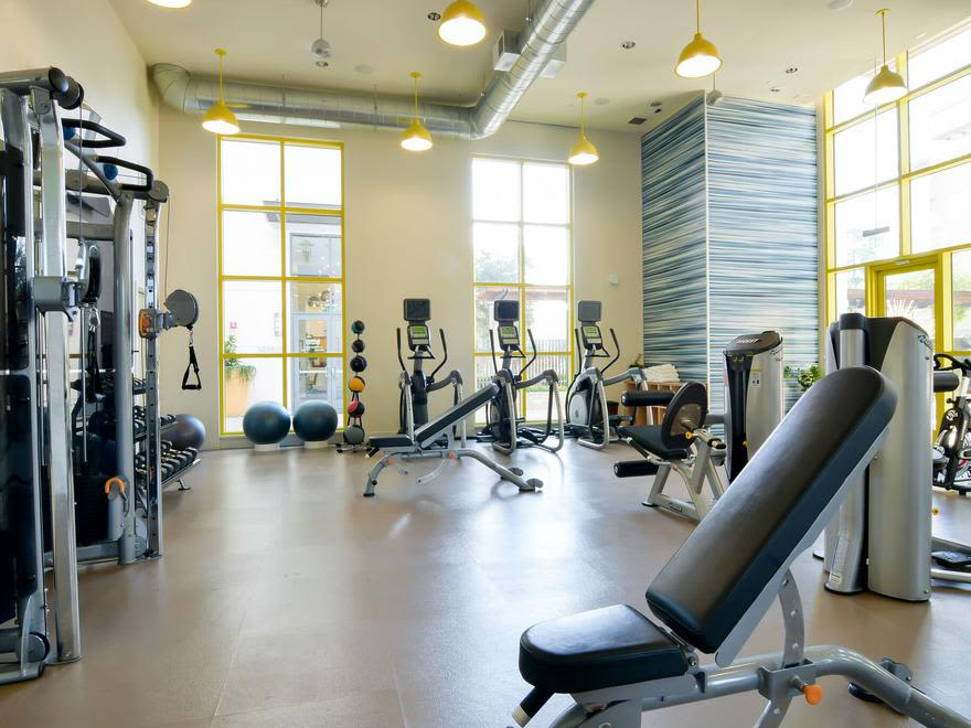 Fitness center at Domus on the Boulevard in Mountain View, California