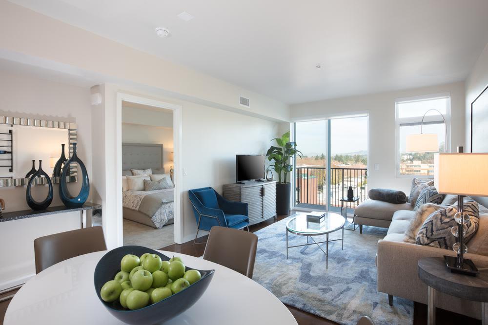 Beautiful living room at Lyric in Walnut Creek, California
