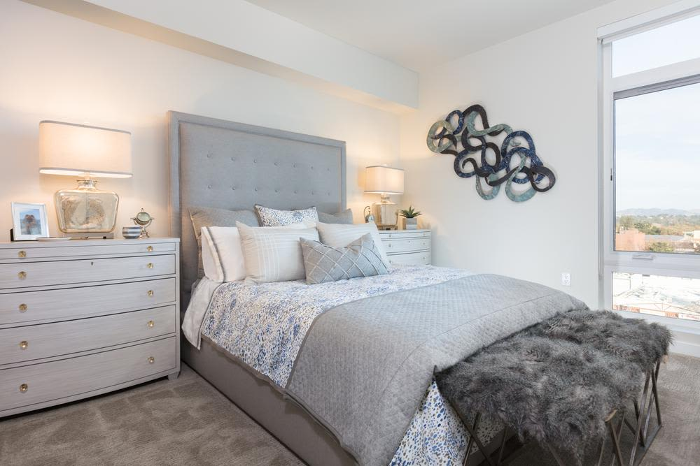 Modern bedroom at Lyric in Walnut Creek, California