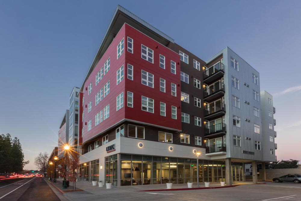 Enjoy the beautiful front view of Lyric apartments