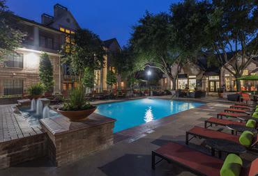 The pool patio our Houston apartments