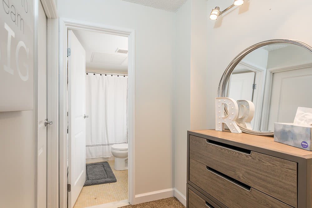 Bathroom at Racquet Club Apartments in Rochester, New York