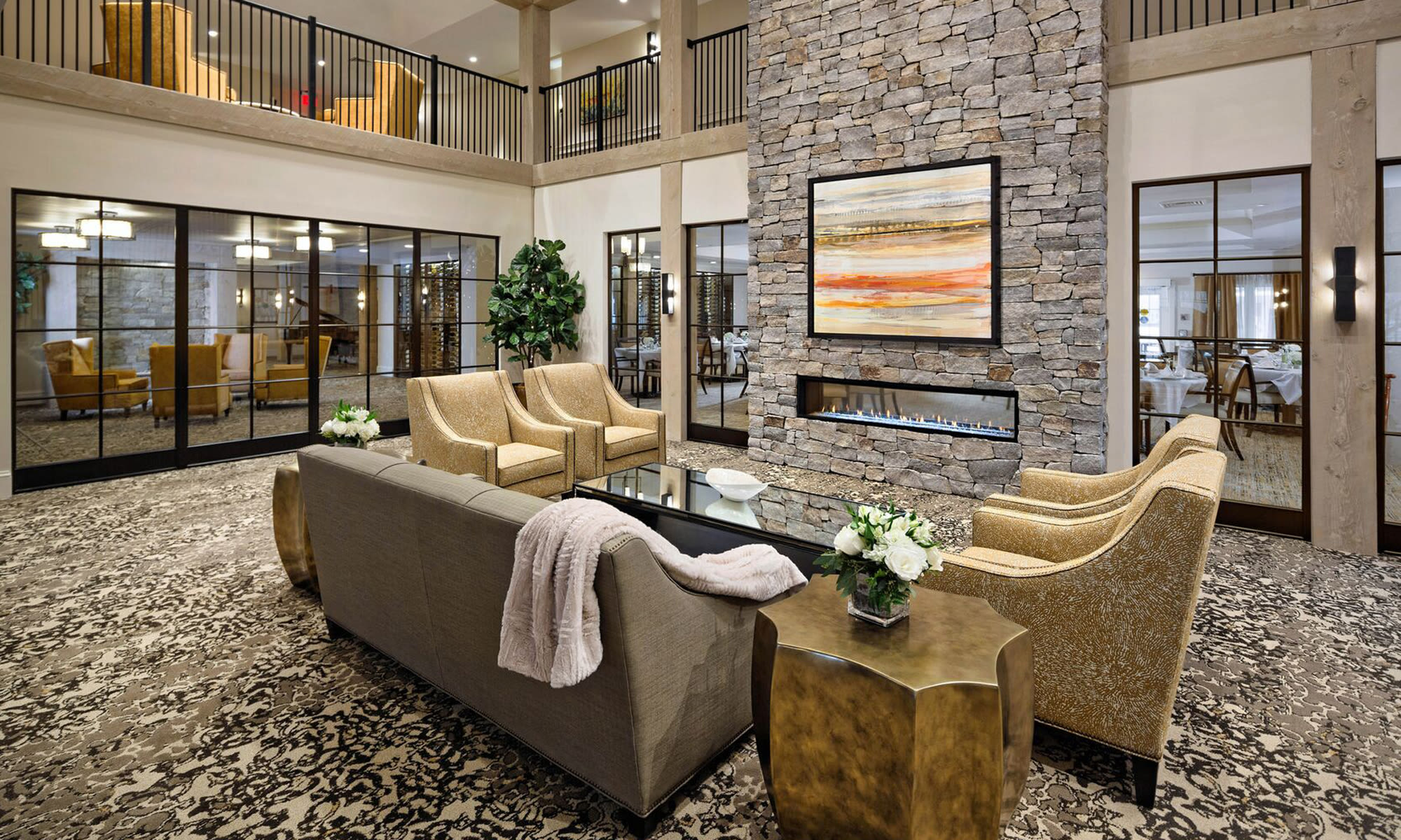 Elegant clubhouse lobby at Maplewood at Weston in Weston, Massachusetts