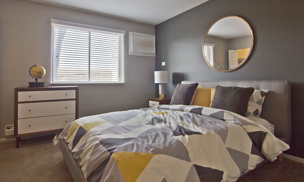 Beautiful bedroom at The Flats at Gladstone in Glendale Heights, Illinois