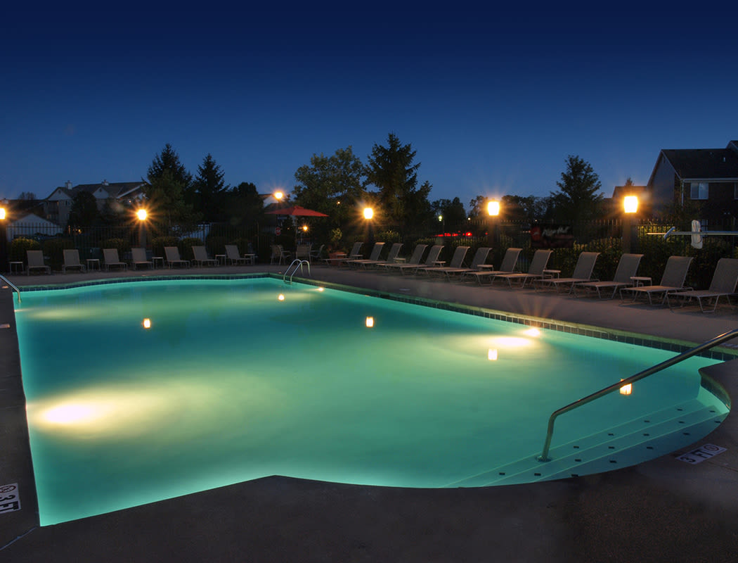 pool lit at night at The Landings at Beckett Ridge in West Chester, Ohio