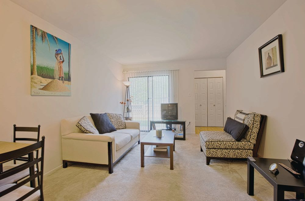 Living room at Woods of Williamsburg Apartments
