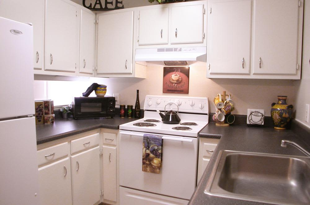 Beautiful kitchen at Woods of Williamsburg Apartments in Williamsburg, Virginia
