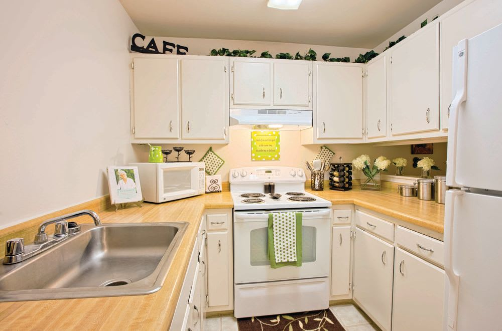 Modern kitchen at Woods of Williamsburg Apartments in Williamsburg, Virginia