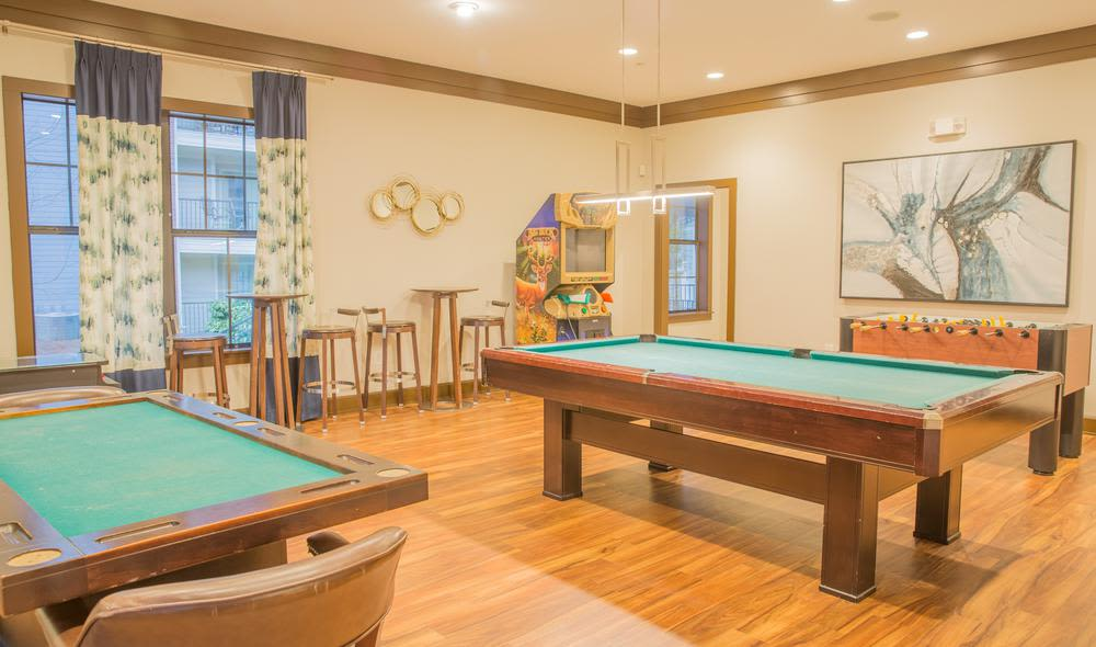 Billiards table in the The Residences at Vinings Mountain clubhouse