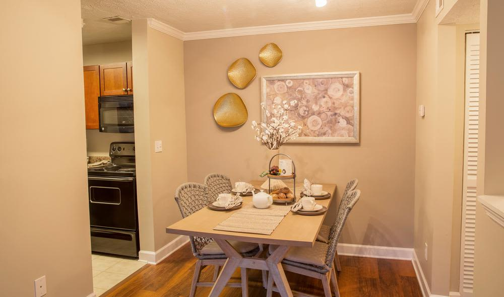 Modern and well-equipped kitchen in The Residences at Vinings Mountain model home