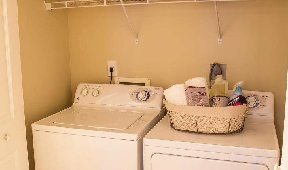 Modern and well-equipped wash room in The Residences at Vinings Mountain model home