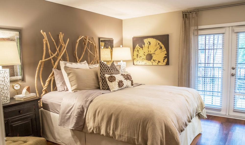 Modern bedroom in The Residences at Vinings Mountain model home