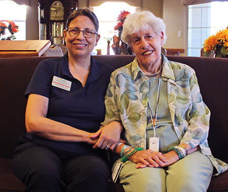 Rhythms Home Care team member with older adult client