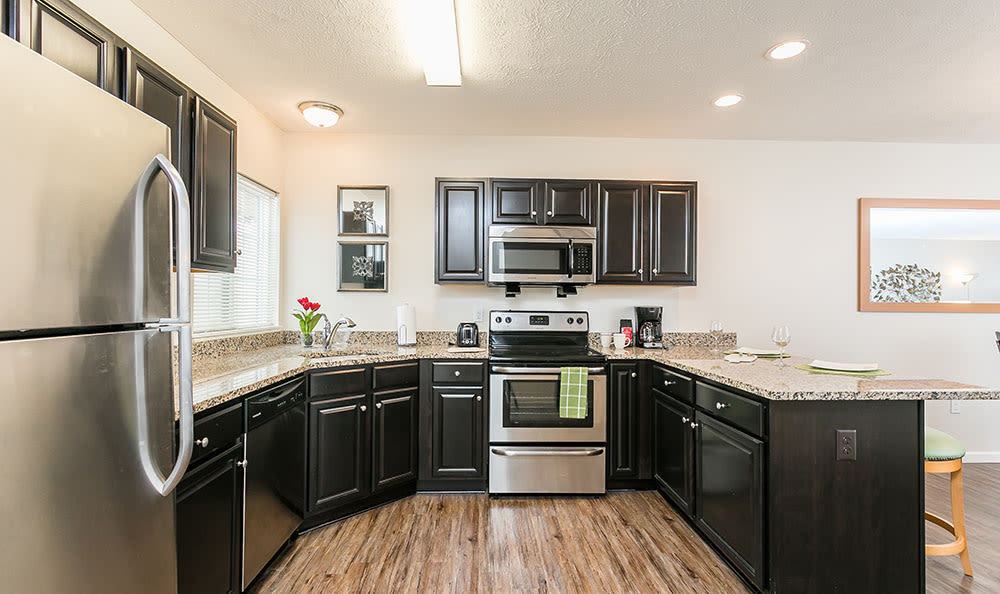 Luxury kitchen at apartments in Victor, New York