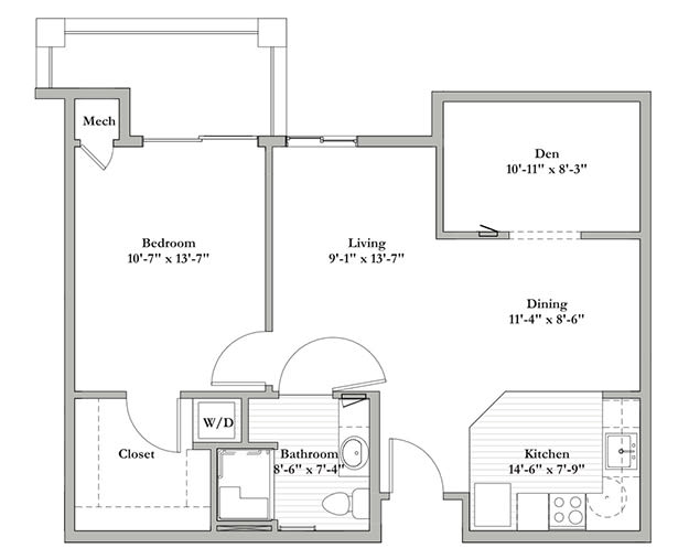 E - One Bedroom / Den / One Bath