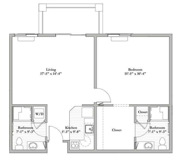 AB - One Bedroom / Two Bath