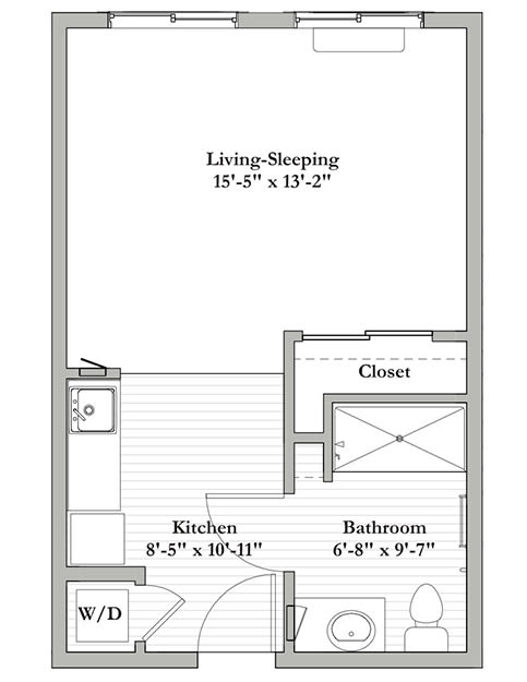 Studio A - Assisted Living Floor Plan