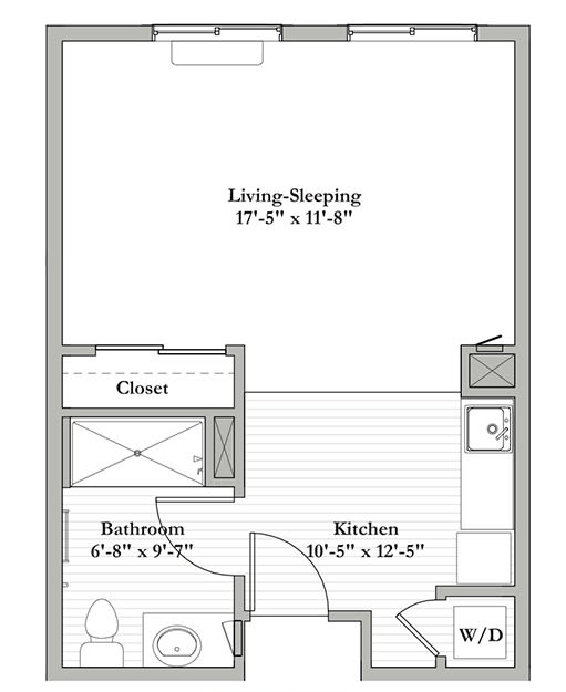 Studio B - Assisted Living Floor Plan