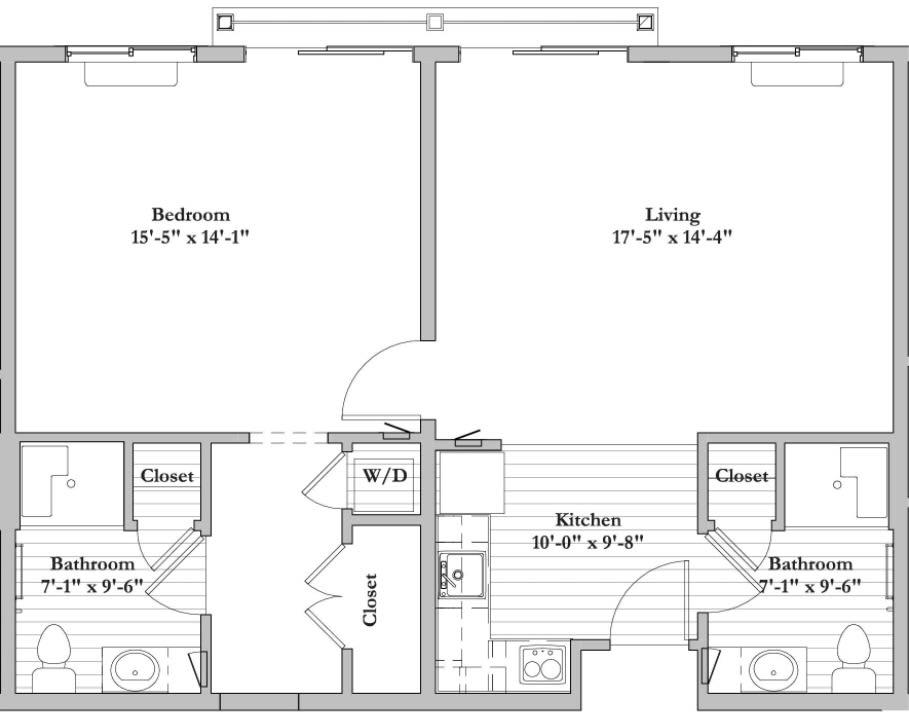 AB - 1 Bed 2 Bath