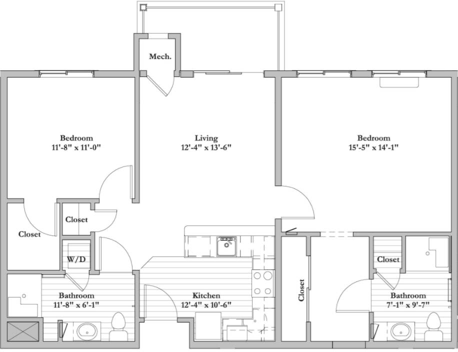 AD 2 Bed 2 Bath Floor Plan