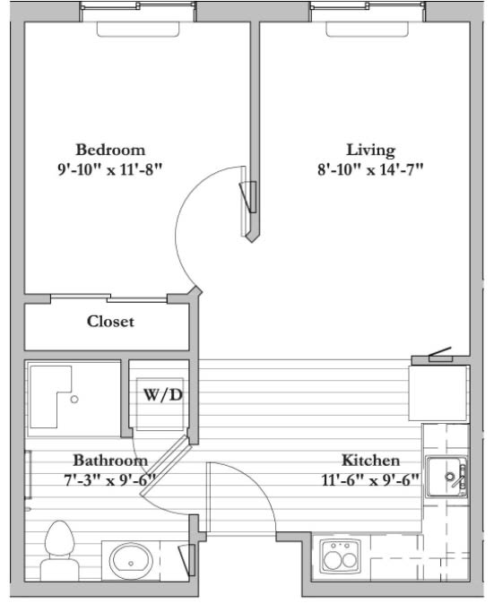 B2 1 Bed 1 Bath Floor Plan