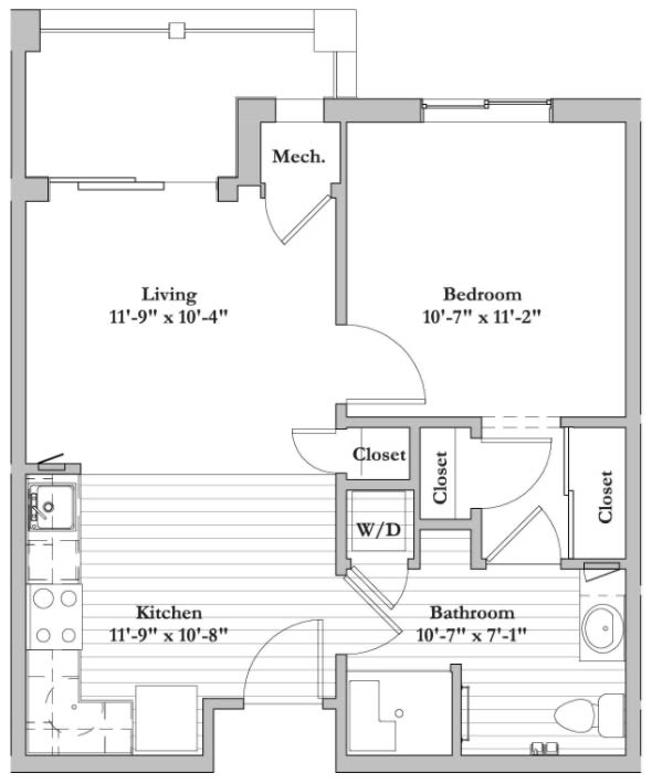 C - 1 Bed 1 Bath Floor Plan