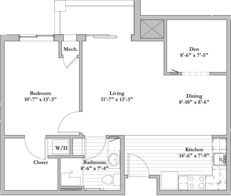 E - 1 Bed 1 Bath +Den Floor Plan