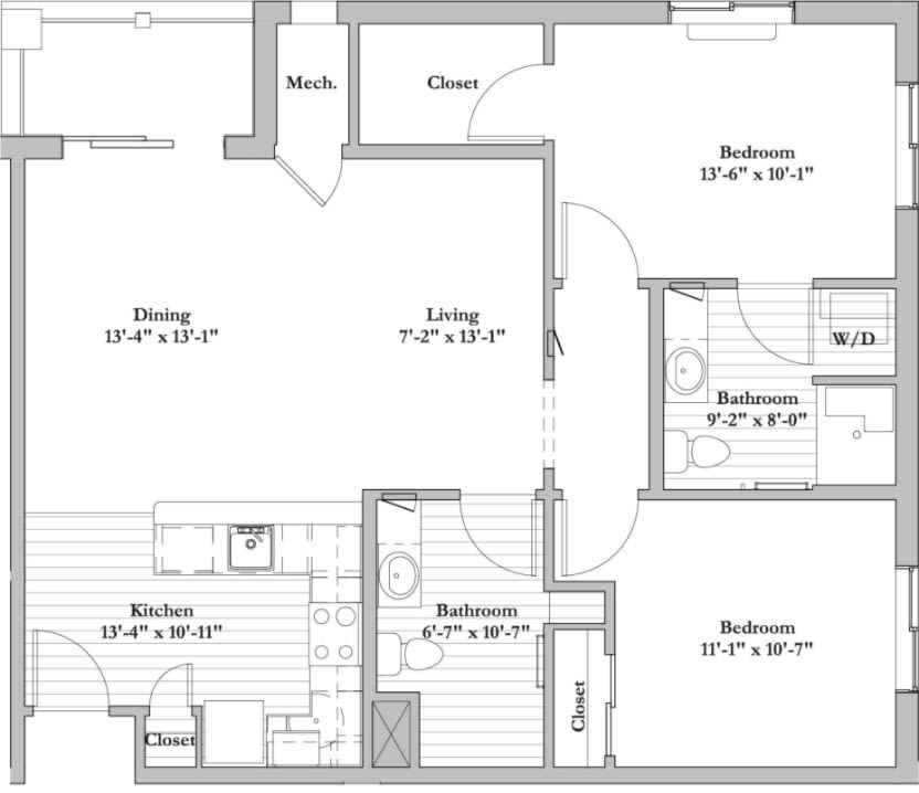 G -  2 Bed 2 Bath Floor Plan