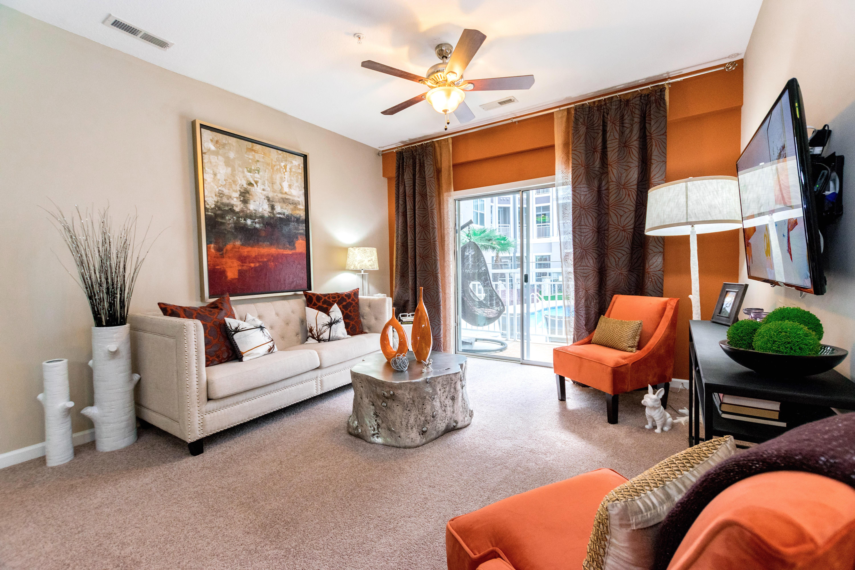 Spacious living room at apartments in Raleigh, North Carolina