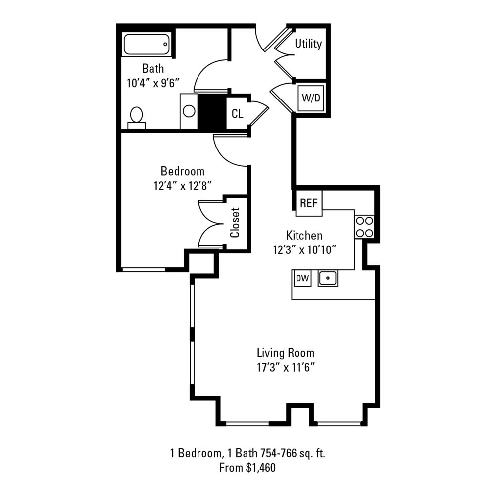 1 Bedroom, 1 Bath 754-766 sq. ft. apartment at The Linc in Rochester, NY